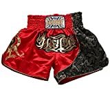 FLUORY Muay Thai Combat Shorts, Short MMA Vêtements d'entraînement Cage Fighting Lutte Arts Martiaux Kick Boxing Short Vêtements, Homme, MTSF25HONG, Small