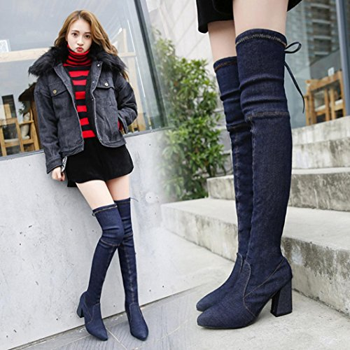 High Heels Stiefel für Frauen, cinnamou Over-The-Knee Stiefel - Fashion Denim schlanke Schuhe - spitzen Toe Outdoor Boots (38, Schwarz) (Pelz-knie-boot)