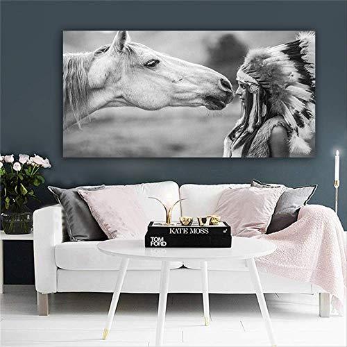 ZHANG Cuadro lienzo Indio nativo blanco negro retrato