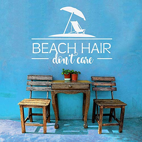 WWYJN Beach Hair Don't Care Quotes Vinyl Wall Stickers Summer Home Decor Art Characters Mural Beach House Wall Decal Removable58x42cm