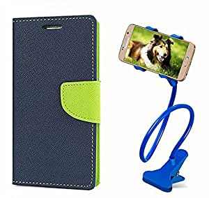 Carla Fancy Diary Card Wallet Flip Case Back Cover For Samsung E5 - (Blue) + Car Mobile Holder Mount Bracket Holder Stand 360 Degree Rotating by Carla Store.