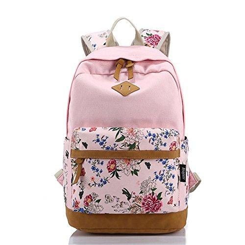 Blume gedruckten Casual Canvas Laptop Tasche Schule Rucksack leichte Rucksäcke für Teen junge Mädchen Rosa