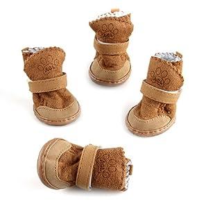 4 x Chaussures Bottes Nylon KAKI 1# Chaud pour Chien Animaux Hiver Neige