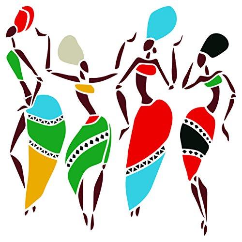 African Dancers stencil–riutilizzabili donne Lady ballerini etnico tribale Wall stencil per pittura–da usare su poster scrapbook Journal muri pavimenti tessuto mobili in vetro legno ecc. s