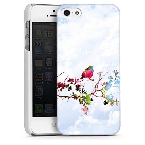 Apple iPhone 5s Housse Étui Protection Coque Oiseau Moineau Branche CasDur blanc