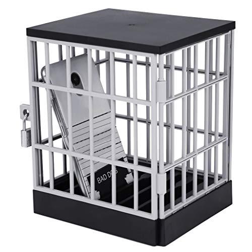 Wanshop  Smartphone-Gefängnis Gadget mit Schloss und Schlüssel - Handy-Gefängnis Scherzartikel Spaßartikel Smartphone-Knast (Schwarz)