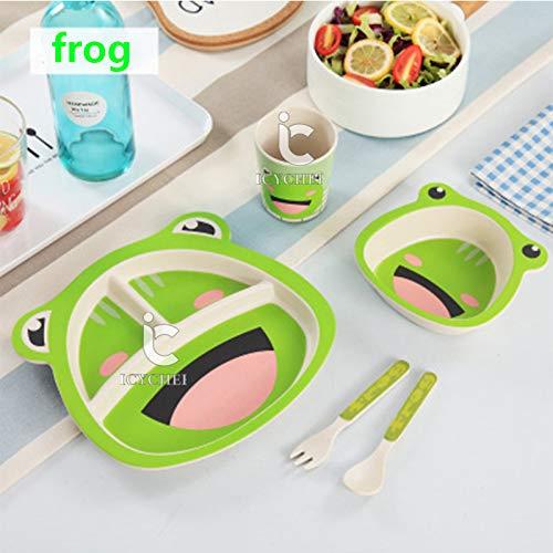 ICYCHEER Kindergeschirr-Set mit Besteck, Müslischale, Trinkbecher und Kinderteller, recycelbares Naturmaterial
