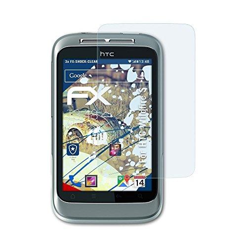 atFolix Schutzfolie kompatibel mit HTC Wildfire S Panzerfolie, ultraklare und stoßdämpfende FX Folie (3X) (Wildfire S Htc)