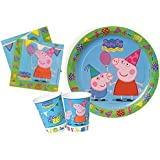 Ciao Y2527 - Kit Party Festa in Tavola Peppa Pig per 24 Persone (88 Pezzi: 24 Piatti, 24 Bicchieri, 40 Tovaglioli)