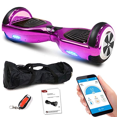 Smartway Balance Scooter 6, 5 Zoll 600W-Motion V.5 mit App Funktion, Bluetooth Lautsprecher, Kinder Sicherheitsmodus, Elektro Self Balance E-Scooter, 600 Watt (Pink Chrome)