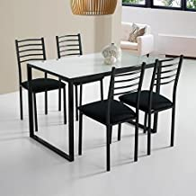 Mesa de cocina con 4 sillas en negro, y tapa de cristal blanco conjunto completo barato