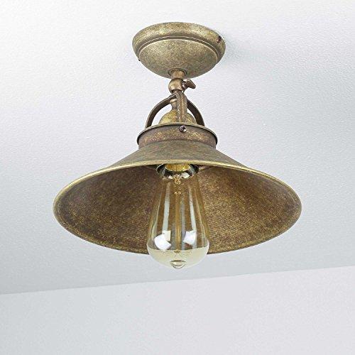 Premium Deckenleuchte aus Messing Antik Industrie E27 bis 60W 230V Flur Wohnzimmer Esszimmer Lampe Leuchte Beleuchtung Vintage Industrieleuchten Industrielampe Deckenlampe Vintage