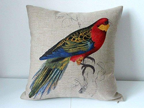 "Lepilo Cotton Linen Square Decorative Throw Pillow Case Cushion Cover Parrot Bird 18\""X18"