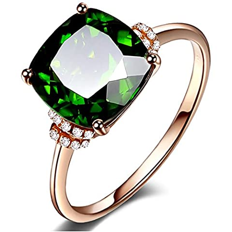 Succinct Fashion Jewelry Women's Green Diopside Gemstone 14K Rose Gold Promise Wedding Engagement Diamond Band Ring