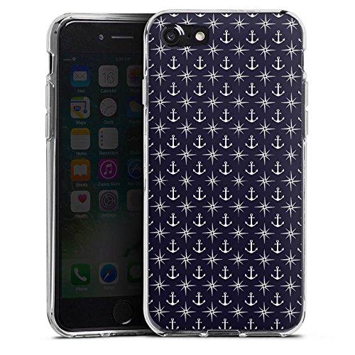 Apple iPhone X Silikon Hülle Case Schutzhülle Anker Kompass Muster Silikon Case transparent