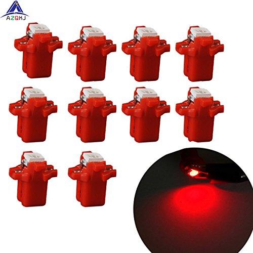 AZQKJ 10PCS Red T5 B8.3D 5050 1SMD Auto LED Instrument Indikator Glühlampe Tacho Beleuchtung Armaturenbrett Licht (Kontrollleuchten Beleuchtung,)