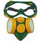 Smarstar - Respirador Máscara industrial de gas químico con doble cartucho anti-polvo Máscara + / Gafas - Amarillo