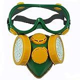Smarstar Dual-Cartridge Industrielle Gas Chemical Anti-Dust Lackierung Atemschutzmaske + / Schutzbrille Set - Gelb und Grün