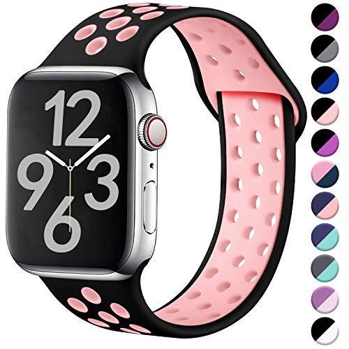 Hamile Correa para Apple Watch 38mm 40mm, Doble Color Pulsera de Repuesto de Silicona Suave Transpirable Correa para Apple Watch Series 5/4/3/2/1, S/M Negro/Rosa