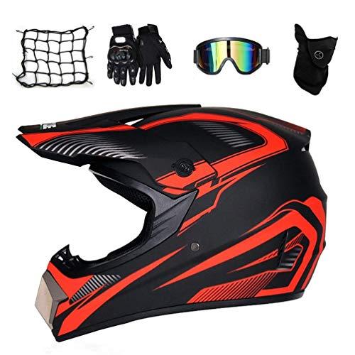 HELMETS-SHOP Motocross Kinder Kinderhelme - Jugend Quad Crash-DH Full Face Off Road Downhill Dirt Bike MX ATV Motorradhelm für Jungen-Mädchen, Groß,Orange,XL