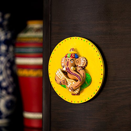 ExclusiveLane Terracotta Handpainted Ganesha Wall Hanging In Yellow - Home Daccor Ganesha Statue Diwali Gifts God Statue  available at amazon for Rs.649