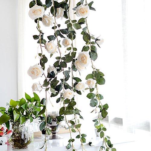 Rosengirlande, Künstliche Rosen, künstliche Blumendeko, zum Aufhängen, für Hotel/Hochzeit/Zuhause/Party/Garten, Creamy, 180 cm/70.87 in