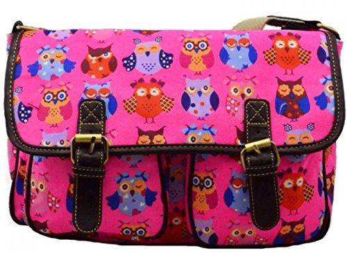LeahWard® Damen Mode Satchel Taschen Kid's Damen Qualität Segeltuch Eule Schmetterling Blume Drucken Umhängetasche Handtasche CWC6072 CWC6072-Eule2-Fushsia