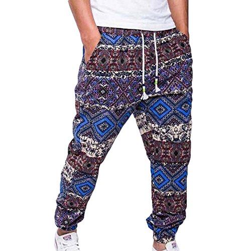Modern Sweathose Herren Baggy Pants Joggingshose Sportswear Freizeithose Trainingshose Druck Fitness Hose Soffhose Blau XL ()