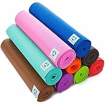 Esterilla de yoga / La colchoneta de yoga y gimnasia ideal para los que empiezan a practicar yoga / La estera »Annapurna Classic« Medidas: 183 x 61 x 0,3 cm / violeta