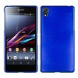 Cadorabo DE-105099 Sony Xperia Z2 Handyhülle aus TPU Silikon in gebürsteter Edelstahloptik (Brushed) Blau