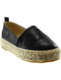 34ea34c9382de8 Angkorly Scarpe Moda Espadrillas Slip-On bi-Materiale Zeppe Donna Lucide  Corda Finitura Cuciture