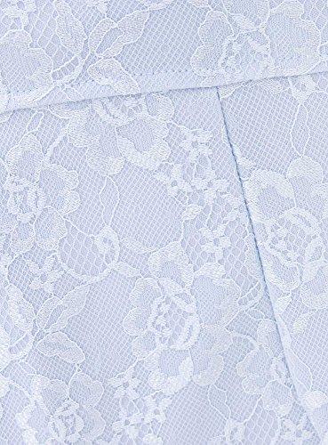 oodji Ultra Femme Robe en Maille et Dentelle Bleu (7000L)