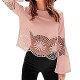ESAILQ Mode Frauen Solide Oansatz Spitze Patchwork Einsatz Hohlsaum Tshirt Top Bluse(Medium,Rosa)