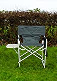 MP Essentials Strong Sturdy Portable Travel Sports Directors Chair with Pockets & Table (Charcaol)