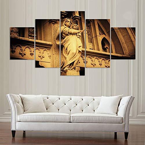 Decoración Moderna del Arte de la Pared del hogar Marco 5 Paneles Virgen María con imágenes del bebé Arte HD Impreso Pintura al óleo sobre Lienzo Poster Artworks (con Marco)-40x60x2 40x80x2 40x100x1