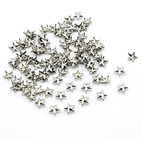 Owfeel 100pcs Star DIY Metal Studs 5 Prongs Spots Nailheads Spikes for Bag Shoes Jeans Bracelet Silver (7mm)