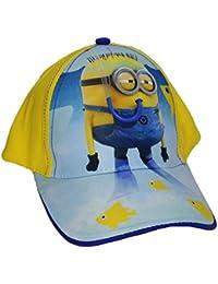 Cappello bambini in cotone con visiera Minions regolabile cod  976 Giallo e  Blu c4259d912604