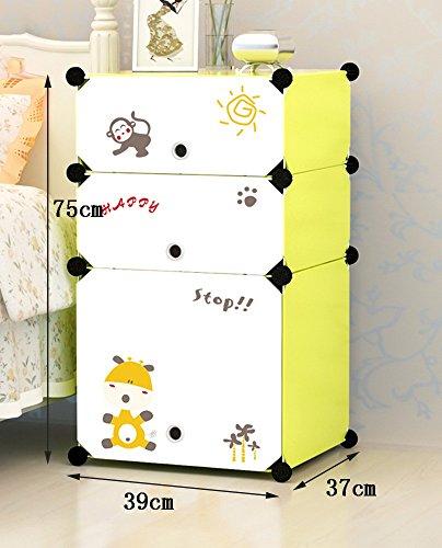 Flashing-DIY Cabinet de lit simple moderne avec portes, résine multifonction Cabinet de lit en plastique PVC, casiers simples Mini armoires de rangement avec des autocollants ( taille : 75*39*37cm )