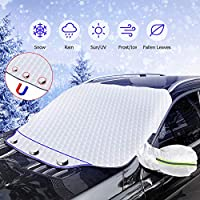 ICETEK Car Windshield Snow Cover, SUV Car Windscreen Cover with 2 Mirror Covers Ultra Thick Magnetic Snow Cover with Reflective Stripe Windshield Protector Snow Ice Frost Sun UV Dust Water Resistant