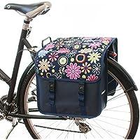 Beluko Classic Double–Bolsa para bicicleta, con doble Alforja, para mujeresypara hombre, C17 - Pink Daisy Flowers
