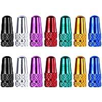 14 Piezas Tapa de Válvula de Aleación de Aluminio Casquillo de Válvula de Estilo Francés para Bicicletas, 7 Colores