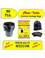 Clean India - 90Pcs. Premium Medium Garbage Bags | Black Recyclable | Disposable Kitchen Garbage Trash Waste Dustbin Bags