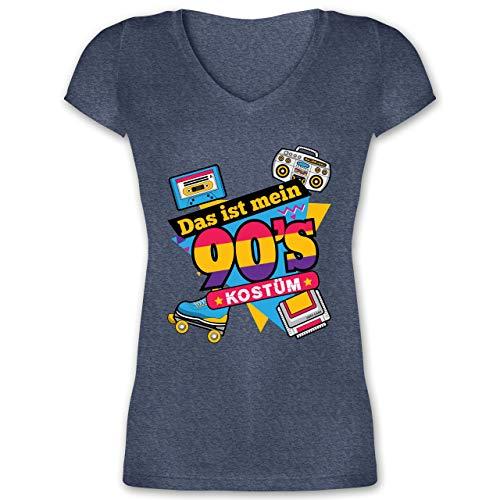 Jahre Gruppe Kostüm 90er - Karneval & Fasching - Das ist Mein 90er Jahre Kostüm - XXL - Dunkelblau meliert - XO1525 - Damen T-Shirt mit V-Ausschnitt