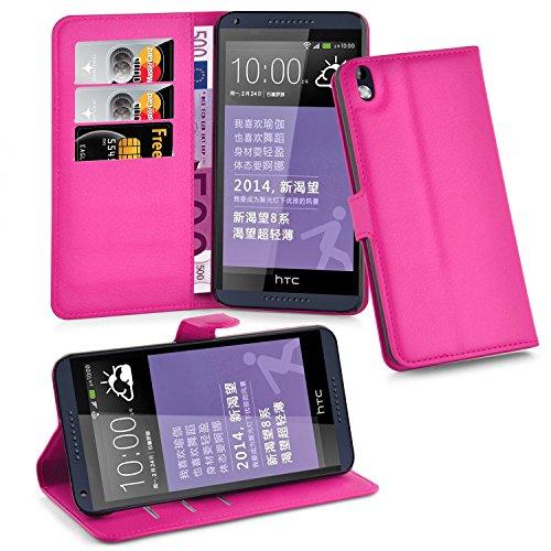 Cadorabo Hülle für HTC Desire 816 - Hülle in Cherry PINK - Handyhülle mit Kartenfach & Standfunktion - Case Cover Schutzhülle Etui Tasche Book Klapp Style