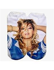 Femenina Modelos 3d de impresión Calcetines Calcetines para niños (Diseño de Beyoncé, color blanco)