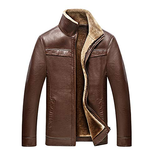 Brandon Herren Lederbekleidung Middle-Aged und Old Men - Plus Samt Dicke Lederjacke Jacke - Fashion Pop-Lederjacke Jacke Malelight Brown XXXL