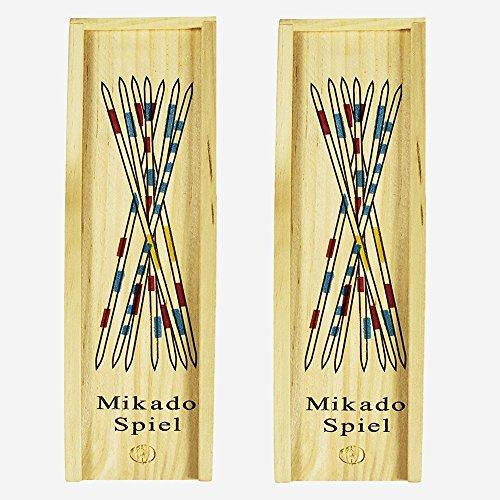 2 Stück Hölzernes Spiel, Mikado Wooden Pick Up Sticks, Praktischem Schiebedeckel und Spielanleitung in Einer Holzbox