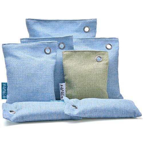 Blueprint PX 7er Pack Aktivierte Bambuskohle Luftreiniger Beutel, muffiger Geruchsentferner für Holzkohle, natürliche Frische Geruchsabsorber und Eliminator (1x 500g, 3X 200g, 1x100g & 2X 75g) (Blueprint Die 3)