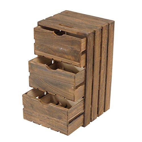 Eine Schublade Schrank Fertig (Kommode Tournai, Schubladenkommode Holzkiste, Shabby-Look Vintage, 53x31x26cm, braun)