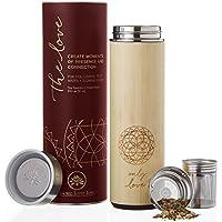 Le Nouvel Amour en bambou 510,3gram Gobelet de voyage Thermos Mug pour thé en vrac, café, ou de l'eau avec filtre en acier inoxydable de fruits et panier Infuseur. Emballé sous vide. joliment Emballé, Poème + carte cadeau.